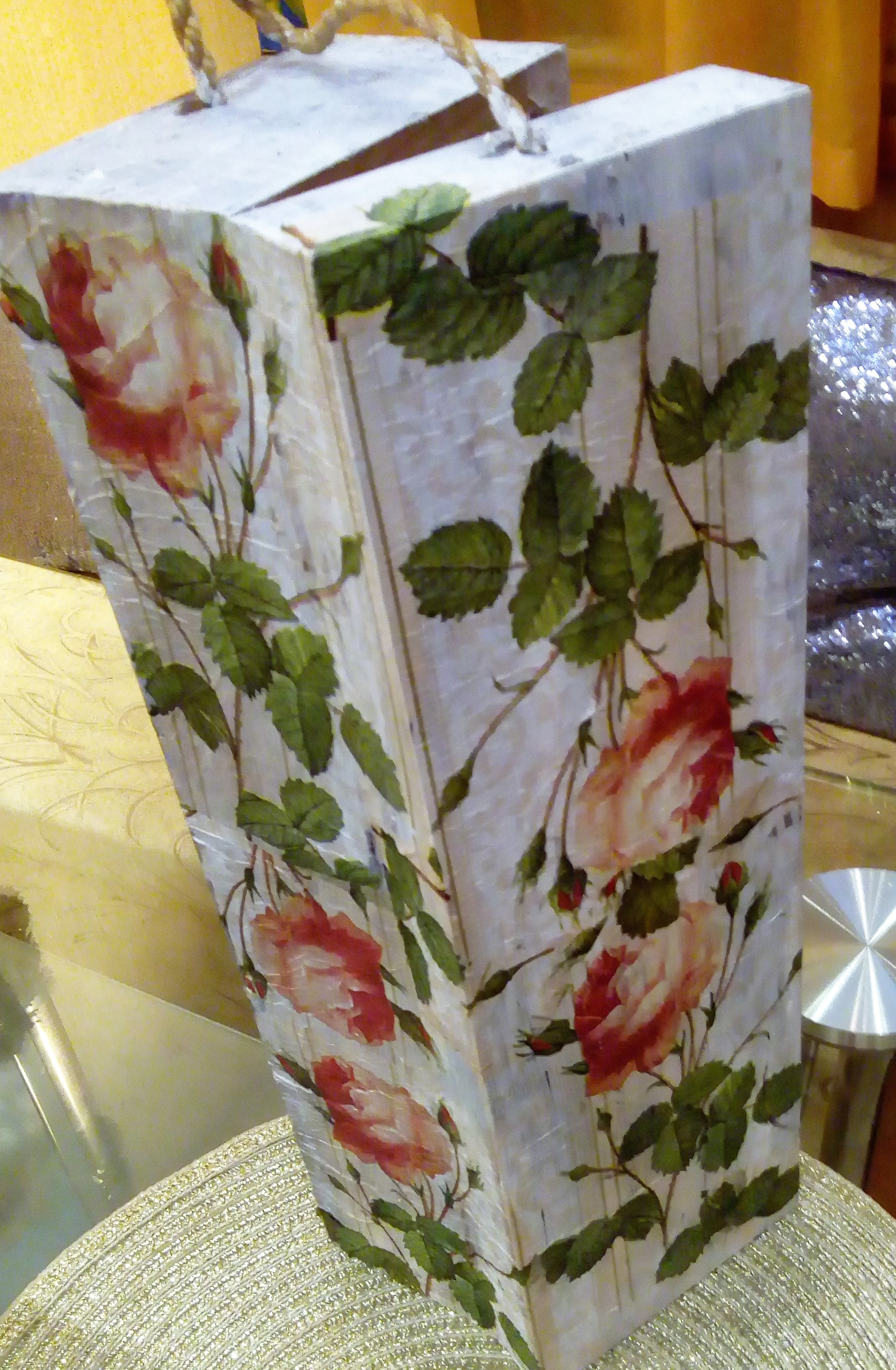 Here you can see an old chair updated with decoupage