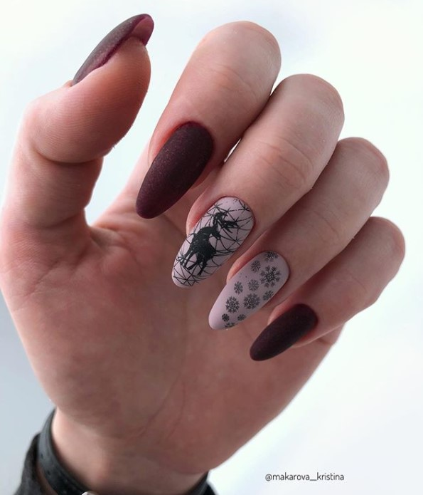 Wine Winter Manicure Nail Design Ideas
