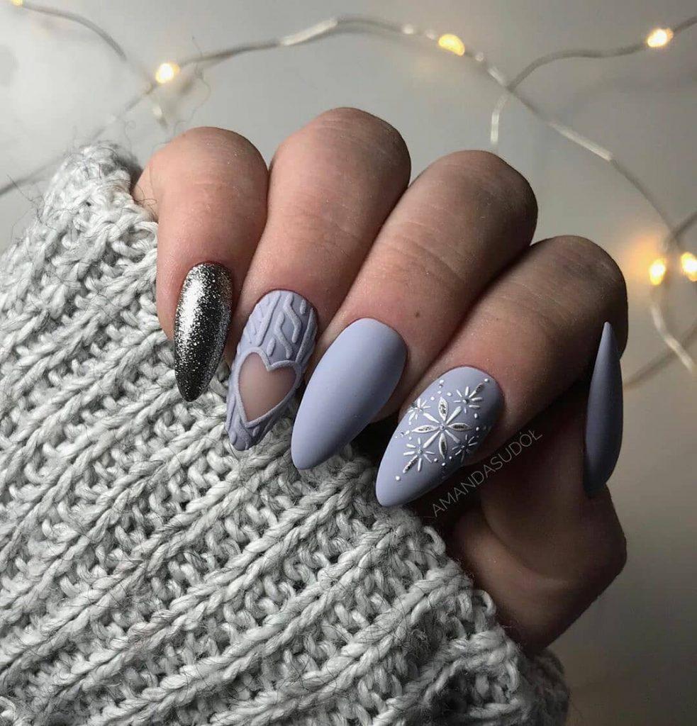 Lilac Winter Manicure Nail Design Ideas