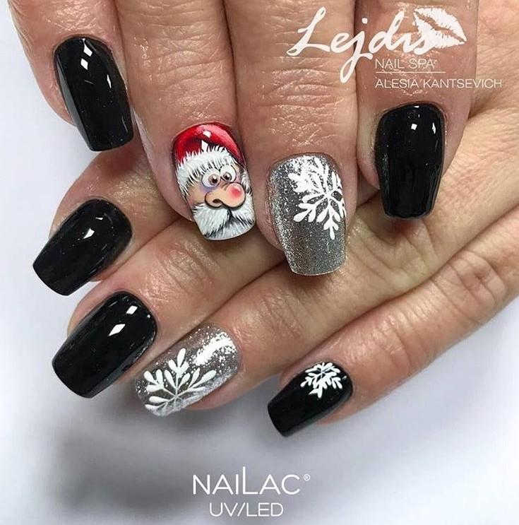 Black Winter Manicure Nail Design Ideas