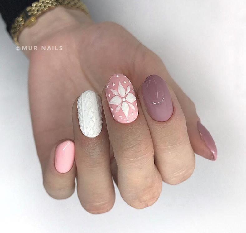Pink White Winter Manicure Nail Design Ideas