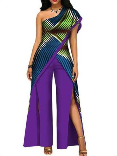 Split Full Length Color Block High Waist Womens Jumpsuit