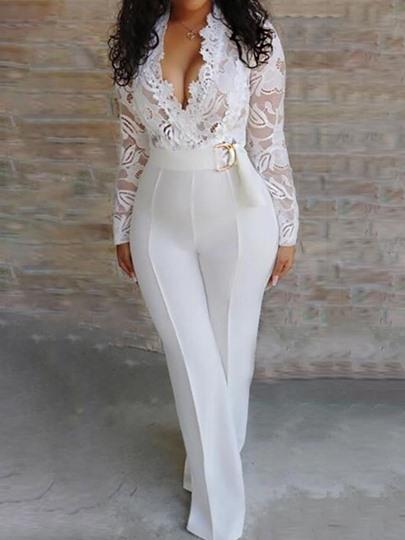 Lace Full Length Sexy Plain Slim Womens Jumpsuit