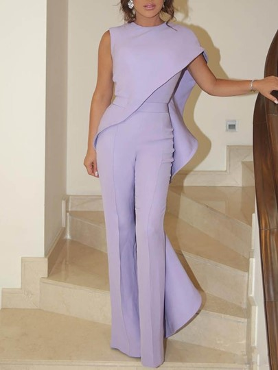 Patchwork Plain Party/Cocktail Full Length Straight Womens Jumpsuit
