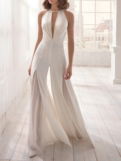 Fashion Full Length Split Plain Bellbottoms Womens Jumpsuit