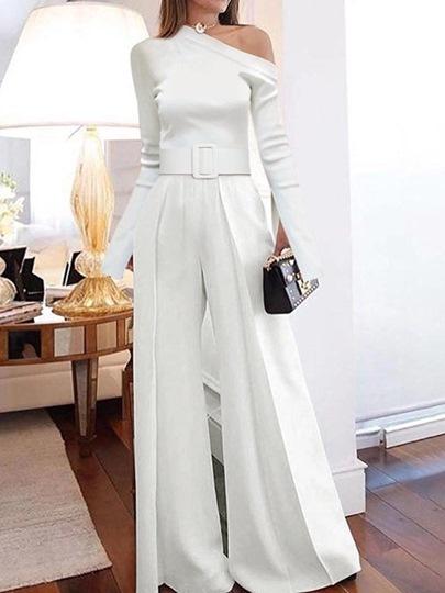 Plain Elegant Full Length Slim Womens Jumpsuit
