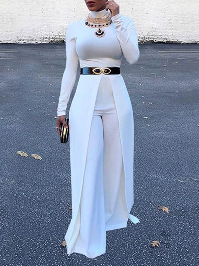 Split Fashion Full Length Plain Slim Womens Jumpsuit