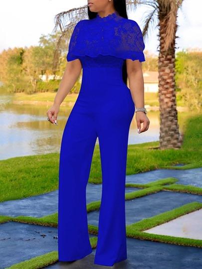 Western Plain Lace Full Length Slim Womens Jumpsuit