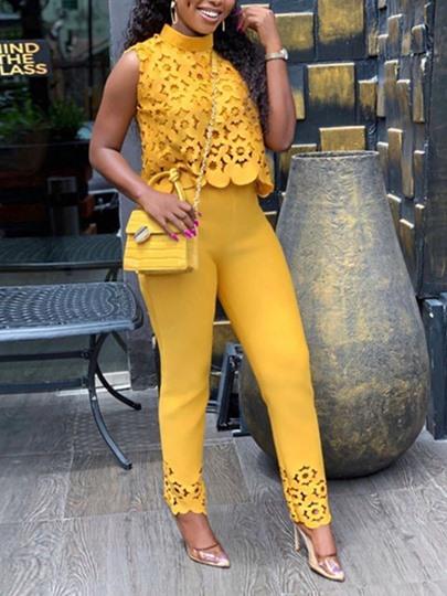 Tbdress Plain Hollow Vest Fashion Stand Collar Womens Two Piece Sets