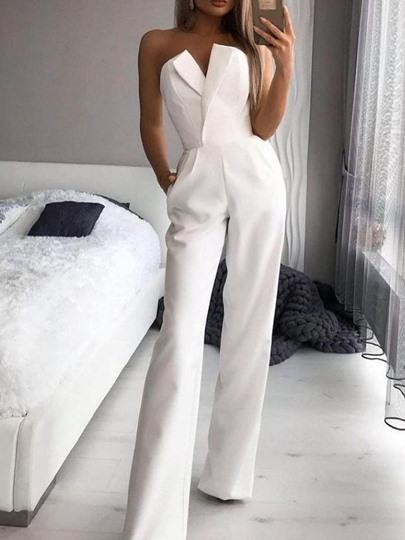 Office Lady Plain Full Length Fashion Slim Womens Jumpsuit