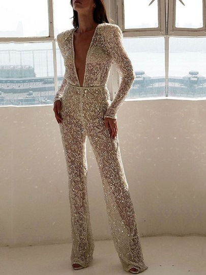Full Length Casual Plain Party Slim Womens Jumpsuit