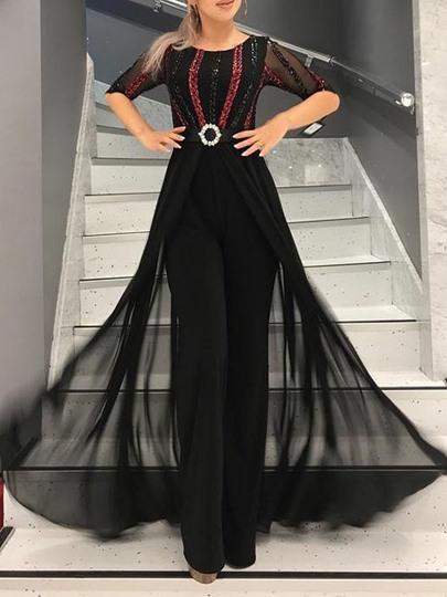 Half Sleeve Sequins Ankle-Length Round Neck High Waist Womens Dress