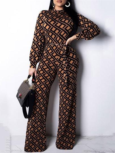 Geometric Full Length Print Fashion Mid Waist Loose Womens Jumpsuit
