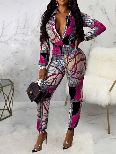 African Fashion Dashiki Print Full Length Slim Womens Jumpsuit