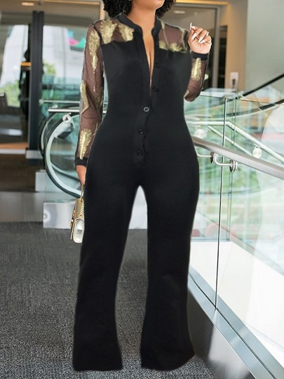 Color Block Patchwork Full Length Slim Womens Jumpsuit